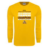 Gold Long Sleeve T Shirt-2017 Mens Basketball Champions Repeating