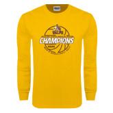 Gold Long Sleeve T Shirt-2017 Mens Basketball Champions Repeating