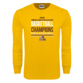 Gold Long Sleeve T Shirt-2017 Mens Basketball Champions Stacked