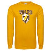 Gold Long Sleeve T Shirt-Stacked Valpo Shield