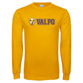 Gold Long Sleeve T Shirt-Flat Valpo Shield