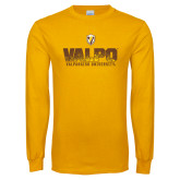 Gold Long Sleeve T Shirt-Stacked Valpo Design