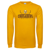 Gold Long Sleeve T Shirt-Football Field Design