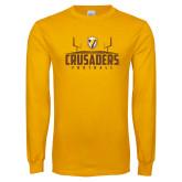 Gold Long Sleeve T Shirt-Football Field Design