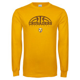Gold Long Sleeve T Shirt-Arched Basketball Design