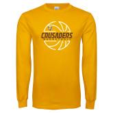 Gold Long Sleeve T Shirt-Basketball Outline Design