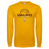 Gold Long Sleeve T Shirt-Stacked Volleyball Design