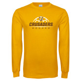 Gold Long Sleeve T Shirt-Stacked Soccer Design
