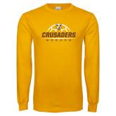 Gold Long Sleeve T Shirt-Stacked Soccer Design
