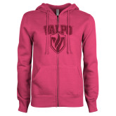 ENZA Ladies Fuchsia Fleece Full Zip Hoodie-Stacked Valpo Shield Hot Pink Glitter