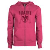 ENZA Ladies Fuchsia Fleece Full Zip Hoodie-Stacked Valpo Shield Hot Pink Glitter