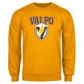 Gold Fleece Crew-Stacked Valpo Shield