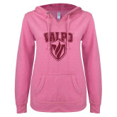 ENZA Ladies Hot Pink V Notch Raw Edge Fleece Hoodie-Stacked Valpo Shield Hot Pink Glitter