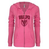 ENZA Ladies Hot Pink Light Weight Fleece Full Zip Hoodie-Stacked Valpo Shield Hot Pink Glitter