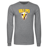 Grey Long Sleeve T Shirt-Stacked Valpo Shield