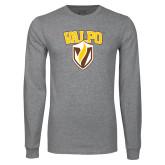 Grey Long Sleeve T Shirt-Stacked Valpo Shield