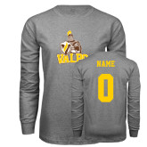 Grey Long Sleeve T Shirt-Official Logo, Custom Tee w/ Name and #