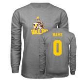 Grey Long Sleeve T Shirt-Official Logo, Custom Tee w/ Name and #