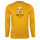 Performance Gold Longsleeve Shirt-University Alumni Mark