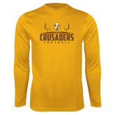 Performance Gold Longsleeve Shirt-Football Field Design