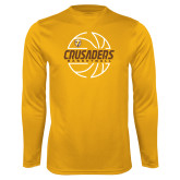 Syntrel Performance Gold Longsleeve Shirt-Basketball Outline Design