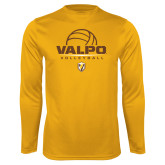 Syntrel Performance Gold Longsleeve Shirt-Stacked Volleyball Design