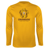 Syntrel Performance Gold Longsleeve Shirt-Soccer Design