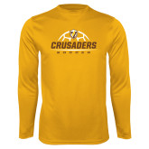 Syntrel Performance Gold Longsleeve Shirt-Stacked Soccer Design
