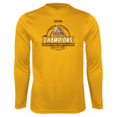 Performance Gold Longsleeve Shirt-2017 Mens Basketball Champions Basketball Ribbon