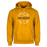 Gold Fleece Hoodie-Basketball Outline Design