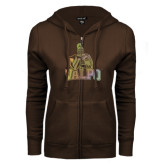 ENZA Ladies Brown Fleece Full Zip Hoodie-Official Logo Foil
