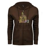 ENZA Ladies Brown Fleece Full Zip Hoodie-Official Logo Foil