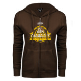 ENZA Ladies Brown Fleece Full Zip Hoodie-2017 Mens Basketball Champions Basketball Ribbon