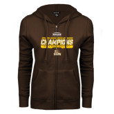 ENZA Ladies Brown Fleece Full Zip Hoodie-2017 Mens Basketball Champions