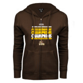 ENZA Ladies Brown Fleece Full Zip Hoodie-2017 Mens Basketball Champions Repeating