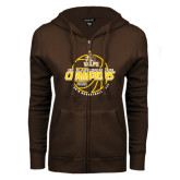 ENZA Ladies Brown Fleece Full Zip Hoodie-2017 Mens Basketball Champions Basketball