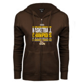 ENZA Ladies Brown Fleece Full Zip Hoodie-2017 Mens Basketball Champions Stacked