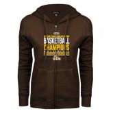 ENZA Ladies Brown Fleece Full Zip Hoodie-2017 Mens Basketball Champions Stacked