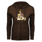 ENZA Ladies Brown Fleece Full Zip Hoodie-Official Logo
