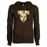ENZA Ladies Brown Fleece Full Zip Hoodie-Stacked Valpo Shield