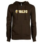 ENZA Ladies Brown Fleece Full Zip Hoodie-Flat Valpo Shield