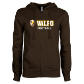 ENZA Ladies Brown Fleece Full Zip Hoodie-Football