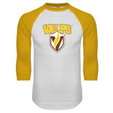 White/Gold Raglan Baseball T-Shirt-Stacked Valpo Shield