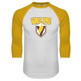 White/Gold Raglan Baseball T-Shirt-Stacked Valpo Shield