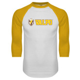 White/Gold Raglan Baseball T-Shirt-Flat Valpo Shield