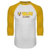 White/Gold Raglan Baseball T-Shirt-Alumni