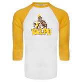 White/Gold Raglan Baseball T-Shirt-Official Logo Distressed
