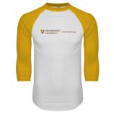 White/Gold Raglan Baseball T Shirt-School of Psychology Horizontal