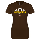 Next Level Ladies SoftStyle Junior Fitted Dark Chocolate Tee-Arched Basketball Design
