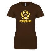 Next Level Ladies SoftStyle Junior Fitted Dark Chocolate Tee-Soccer Design